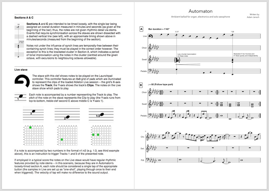 AJ Pact | Dorian Live | Automaton score, now with performer notes